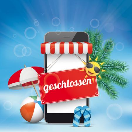 German text Geschlossen, translate Closed. Eps 10 vector file.