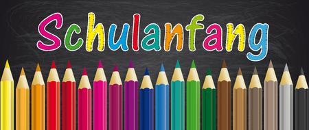Illustration pour German text Schulanfang, translate Back to School. Eps 10 vector file. - image libre de droit