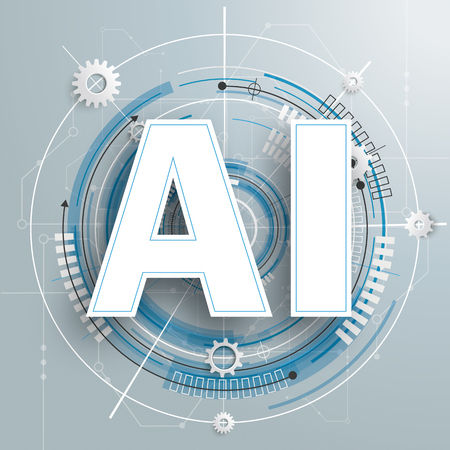Illustration pour White paper text AI on the gray background with circuit board. Eps 10 vector file. - image libre de droit