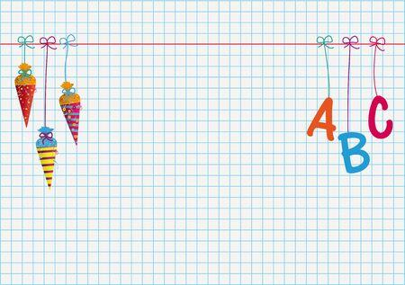 Illustration pour School enrollment banner with hanging candy cones and letters ABC. Eps 10 vector file. - image libre de droit