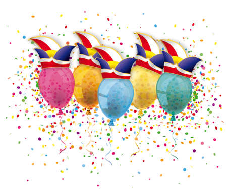 Illustration for Carnival cover with confetti balloons and jesters caps. Eps 10 vector file. - Royalty Free Image