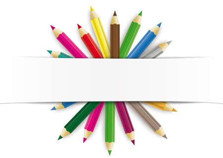 Illustration pour White paper banner  colored pencils.   vector file. - image libre de droit