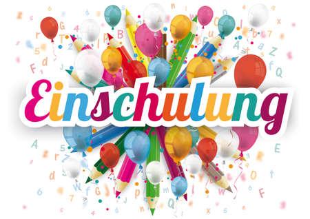 Illustration pour German text Einschulung, translate Enrollment. - image libre de droit