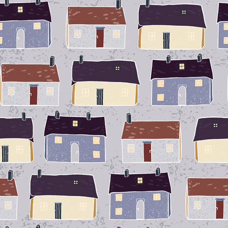 Illustration for Houses Village Vector Pattern Repeat Seamless Background, Hand Drawn Neighborhood Cottages Illustration for Modern Home Decor, Trendy Stationery, Decoration, New Home Gift Wrap, Community Architecture - Royalty Free Image