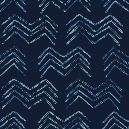 Illustration pour Indigo Tie Dye Batik Chevron Seamless   Pattern. Drawn Organic - image libre de droit