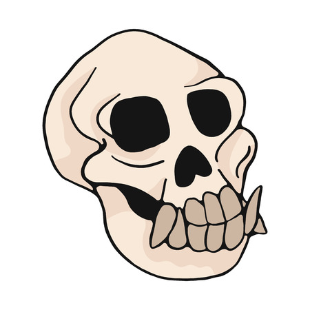 Illustration pour Animal monkey skull cartoon vector illustration motif set. Hand drawn isolated ape bone elements clipart for nature blog, natural history bone skeleton graphic, anatomy education web buttons. - image libre de droit