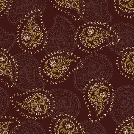 Illustration pour 1950s Style Retro Daisy Paisley Seamless Vector Pattern. Folk Ethnic Flower Embroidery Motif. Hand Drawn Textile Prints for Trendy Fashion, Packaging, Scandi Clothing, Stationery. Vintage Brown Gold - image libre de droit