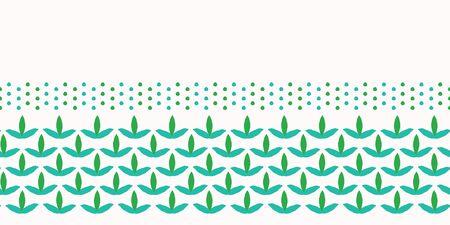 Illustration for Leaves seamless border pattern. Stylized retro edging. Pretty modern feminine nature fashion band. Trendy fresh scrapbooking banner, fabric ribbon trim, green garden stationery washi tape.  - Royalty Free Image