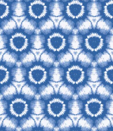 Illustration pour Blurry shibori sunburst tie dye background. Seamless pattern irregular circle on bleached resist white background. Japanese style dip dyed batik textile. Variegated textured trendy fashion. - image libre de droit