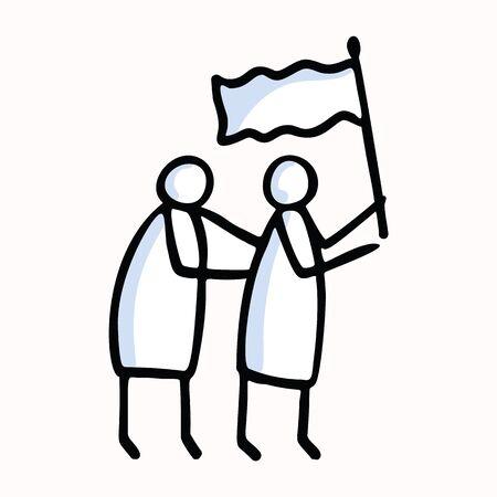 Illustration pour Two Stick Figure People Waving Flag. Hand Drawn Isolated Human Doodle Icon Motif. Clip Art Element. Black White Flat Color. For Encouragement, Support, Helpng Hand Concept. Pictogram. - image libre de droit