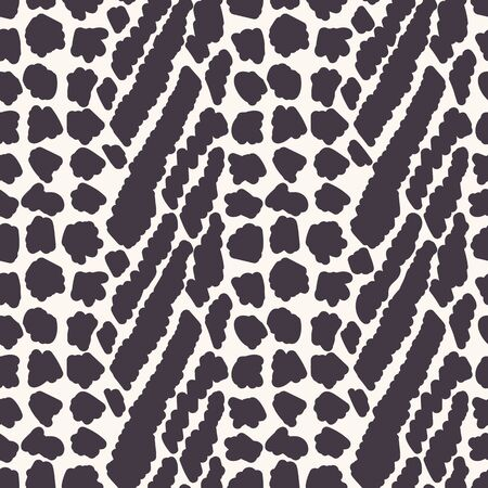 Monochrome Vector Animal Skin Texture. Abstract Cat Dot, Giraffe or Spotted Appaloosa Effect Textured Background. Rough Hand Drawn Rugged Graphic Style Seamless Pattern. Zebra Mix Repeat