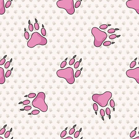 Hand drawn cute pink puppy dog paw with claw seamless vector pattern. Wild animal paw pad background. Fun joyful wild trail for kids all over print. Kitten and pet.