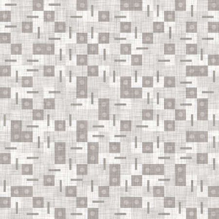 Seamless light grey woven check linen texture background. Flax hemp fiber natural pattern. Organic fibre close up weave fabric surface material. Ecru geometric plaid natural cloth textured .