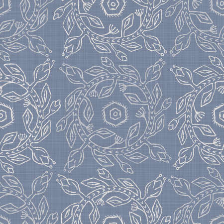 Photo pour Seamless french farmhouse damask linen pattern. Provence blue white woven texture. Shabby chic style decorative fabric background. Textile rustic all over print - image libre de droit