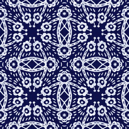 Photo for Indigo blue flower block print dyed linen texture background. Seamless woven japanese repeat batik pattern swatch. Floral organic distressed blur block print all over textile. - Royalty Free Image