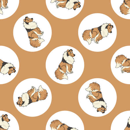 Illustration pour Hand drawn cute Rough Collie dog breed in polka dot seamless vector pattern. Purebread pedigree puppy domestic on dotty background. Dog lover toy dog all over print. Kennel club pooch. - image libre de droit