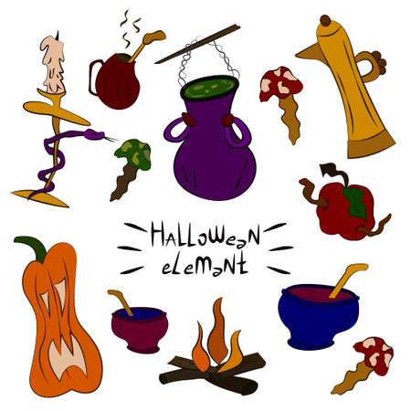 Illustration pour Collection of witch objects, potions, ingredients. Halloween spooky elements, cliparts, stickers. Magic kitchen utensils. Cool children's prints holiday theme. For design of cards, posters, banners - image libre de droit