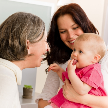 Photo pour Happy family women - grandmother, mother and baby make funny face - image libre de droit