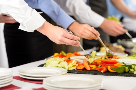 Photo pour Business catering people take buffet food during company event - image libre de droit