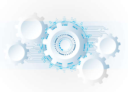 Illustration for Futuristic clean technology concept,  white paper gear wheel technology circuit board. hi-tech, engineering ,  white-blue background - Royalty Free Image