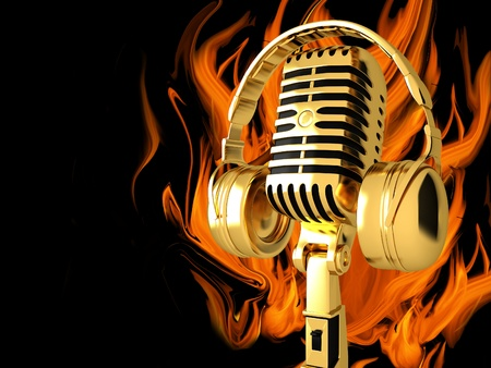 Microphone with headphones on fire background