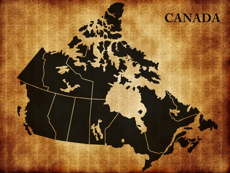 Map of Canada on the old texture