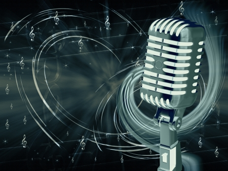 Microphone on abstract musical background