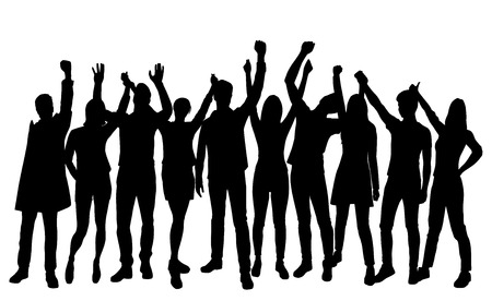 Illustration for Set silhouettes man and woman standing with hands up, group of people, black color isolated on white background - Royalty Free Image