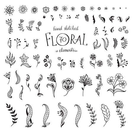 Illustration for Vector Big Set hand-drawn decorative flowers and leaves. Floral collection isolated on white background. - Royalty Free Image