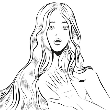 Beautiful woman with long hair qestuing NO or stop line art