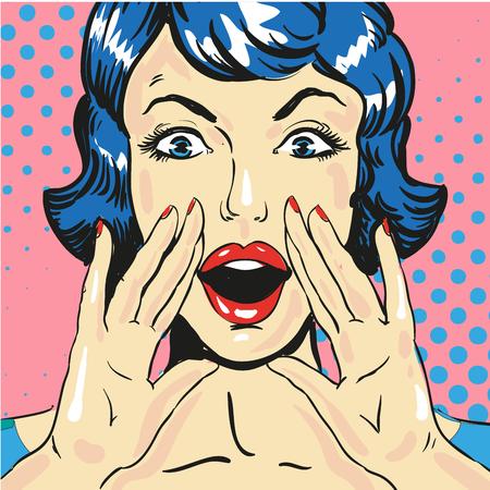 Illustration pour Woman screaming announcing news pop art comic style vector - image libre de droit