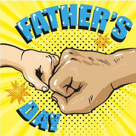 Illustration pour Happy fathers day poster in retro comic style. Pop art vector illustration. Father and son fist bump stock - image libre de droit