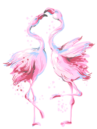 Illustration pour Two pink flamingos dancing in honeymoon, making love, vector hand drawn illustration isolated on white background - image libre de droit