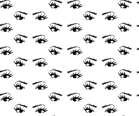 Illustration pour Seamless pattern of hand-drawn woman s eyes with shaped eyebrows. For business visit card, typography vector. As print for clothes, bags, towel, banner, background. - image libre de droit