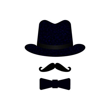 Illustration pour Black masquerade hat, mustache, bow tie. Isolated objects. Gentleman icon set. Vector illustration. Decorative element for logo, print, flyer - image libre de droit