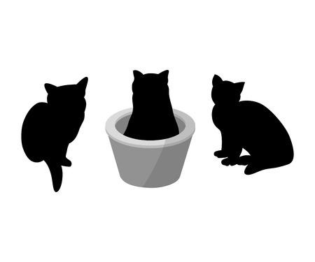 Illustration pour Set of three black silhouette of cats on white background. Various forms, pose. sits, in a basket. Elements for design, pet shop, food for animals. Vector illustration - image libre de droit