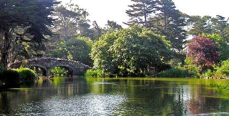 Rock footbridge over lake