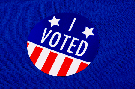 I Voted Sticker On Blue Background