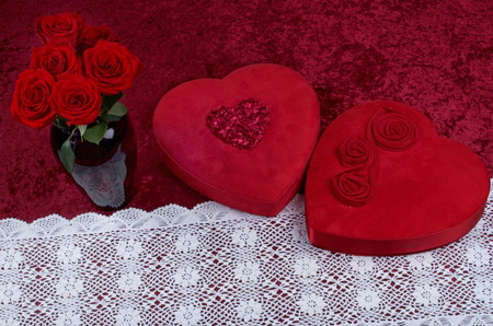 Valentine Heart, Red Roses, Lace Runner on Red Crushed Velvet