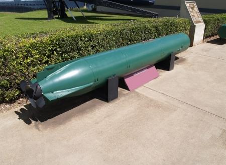 Green torpedo displayed in Pearl Harbor, Hawaii