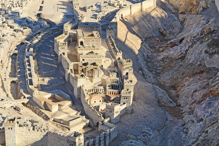 Photo pour Model of ancient Jerusalem at the time of the second temple.  Focusing on the Lower City or City of David, Kidron Valley, Pool of Siloam, Adiabenian Royal Palaces and Synagogue of the Freedmen. - image libre de droit