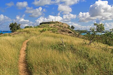 Walking path to Old Fort Barrington on the hilltop of Five Islands Peninsula between Deep Bay and St. John's Harbour, Antigua Barbuda Lesser Antilles, West Indies, Caribbean formally known as Goat Hill.