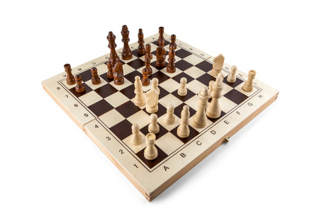 Photo for Chess board with chess wooden pieces isolated on white - Royalty Free Image