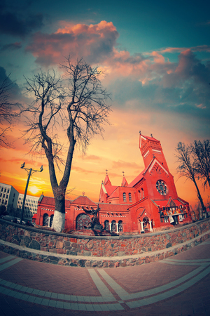 Belarussian Roman Catholic Church Of Saints Simon And Helen (Red Church) On Independence Square In Minsk, Belarus