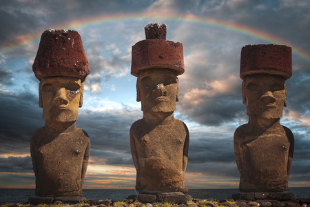 A statue on Easter Island or Rapa Nui in the southeastern Pacific, the territory of Chile.