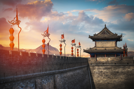 Photo pour Xian city wall. The largest monument of Chinese architecture - image libre de droit