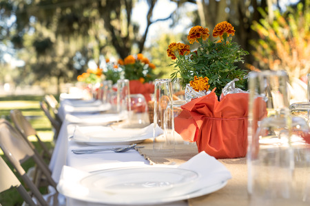 Outdoor spring or summer casual garden party set up for lunch dinner with long table folding chairs marigold flowers plates and tablecloth