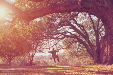 Man swinging from a large live oak tree branch in the countryside at a farm or ranch looking serene peaceful calm relaxing beautiful southern whimsical happy dreamy romantic with a retro vintage lens flare and light leak filter