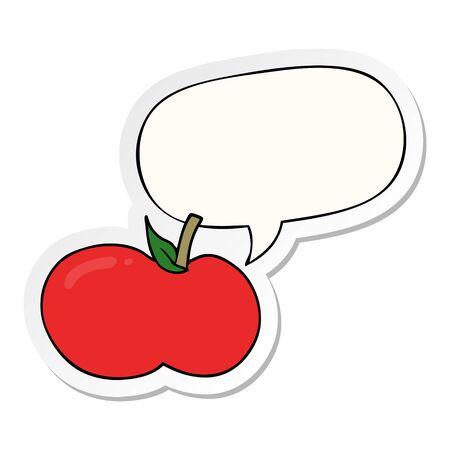 Illustration pour cartoon apple with speech bubble sticker - image libre de droit