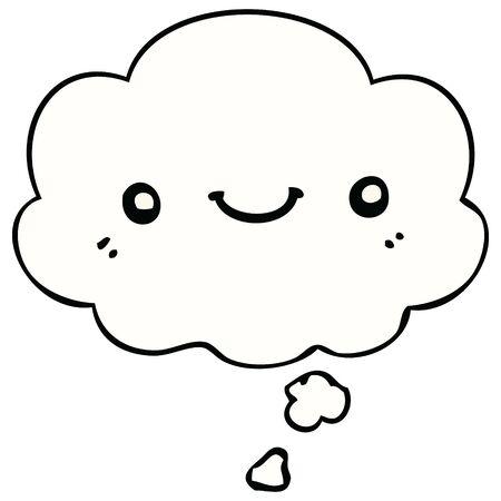 Illustration pour cartoon cute happy face with thought bubble - image libre de droit
